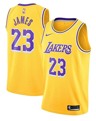 Outerstuff Boy's Los Angeles Lakers Lebron James Icon Edition Swingman Jersey Small Gold