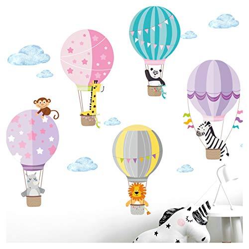 Little Deco Aufkleber Zoo Tiere im Heißluftballon I M - 130 x 75 cm (BxH) I Wandbilder Wandtattoo Kinderzimmer Herzen Tiere Deko Mädchen Mädchenzimmer Sticker DL203