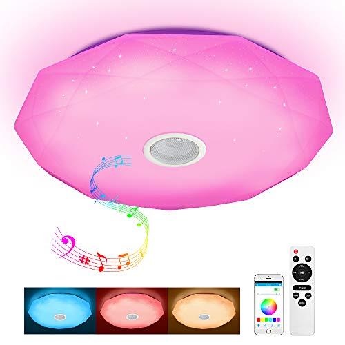 Plafonnier LED avec télécommande et haut-parleur Bluetooth MP3 36 W changement de couleur, étoiles, intensité variable, blanc chaud, blanc froid, 2800-6500 K, lumière ambiante RVB