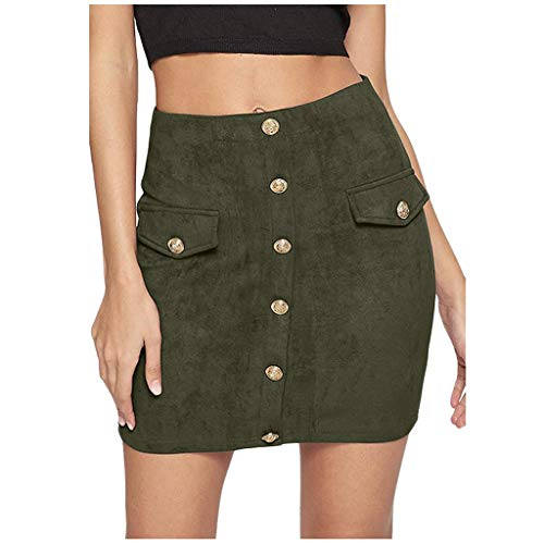 Femmes Taille Haute Jupes Moulantes Zipper Crayon Mini Streetwear Skinny Button Front Shorts