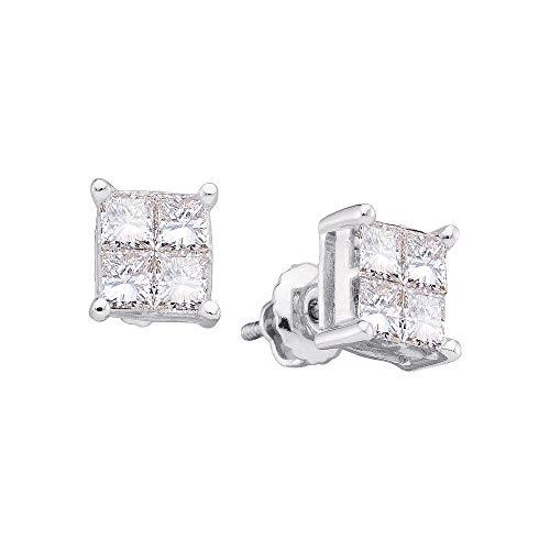 Pendientes de oro blanco de 14 quilates para mujer, diseño de princesa de diamante cuadrado con...