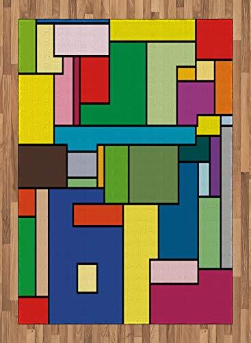 ABAKUHAUS Art Tapis Tissé à Plat, Carrés Mondrian Vives, Salle de Séjour Chambre à Coucher Salle à Manger, 160 x 230 cm, Multicolore