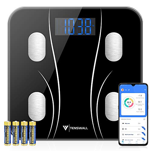 Body Weight Scale, Digital Bathroom Scale Body Composition Monitor Health Analyzer with Smartphone App for Body Weight, Body Fat, Water, BMI, BMR, Muscle Mass 396 lbs
