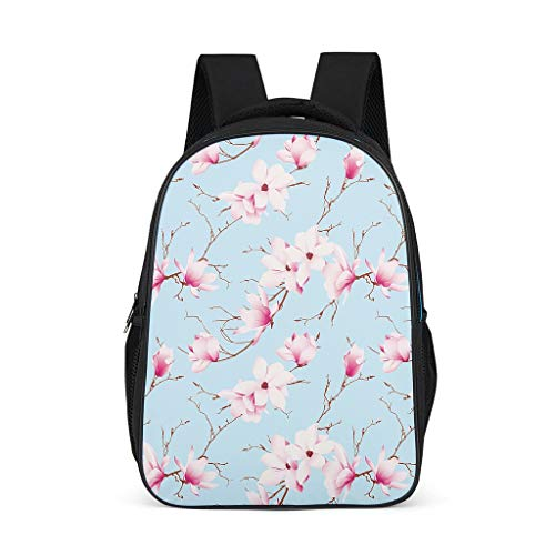 Plant bloem roze blauw rugzak schooltas cartoon jongens universiteit reizen multifunctionele buiten Eén maat grijs