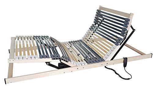 Matratzen Perfekt 7-Zonen Motor-Lattenrost mit 5-facher Härtegrad-Regulierung und 42 Federleisten, elektrisch verstellbar und orthopädisch mit elektrischen Motor-Rahmen (100 x 200 cm)