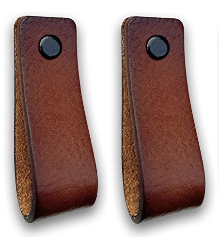 Ledergriffe Möbel | Cognac - 2 Stück | Ledergriff für Schränke, die Küche und Tür | Lieferung mit Schrauben in 3 Farben