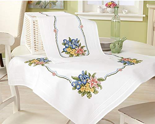Kamaca - Set per ricamo a punto croce, tovaglia con motivo bouquet di fiori, in cotone