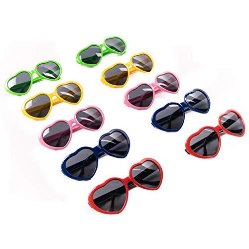 THE TWIDDLERS 10pcs Corazón Gafas De Fiesta - Neón Gafas de Sol para Adultos y Niños
