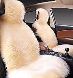 Hava Kolari Autositzkissen Lammfellbezug Universal Schaffell Auto Sitzbezug Kopf- und Nackenplüsch Echtlammfell Vordersitzbezug (Beige)