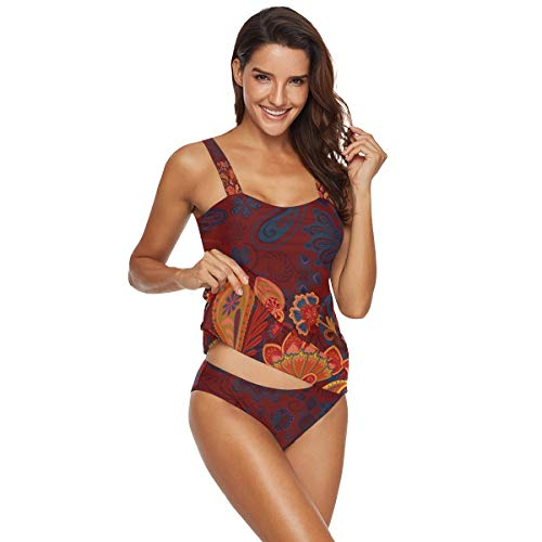 Vintage Style Floral Paisley Tankini Swimsuits for Women Two Piece Wrap Twist Bathing Suits for Women XXL 2010005