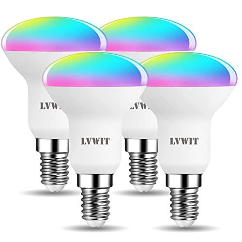LVWIT Lampadina LED Riflettore Smart Wifi Attacco E14, Forma R50, 4.9W Equivalenti a 40W, 470Lm, Compatibile con Alexa, Echo e Google Assistant, Intelligente Dimmerabile, Controllo Remoto App, 4 Unità