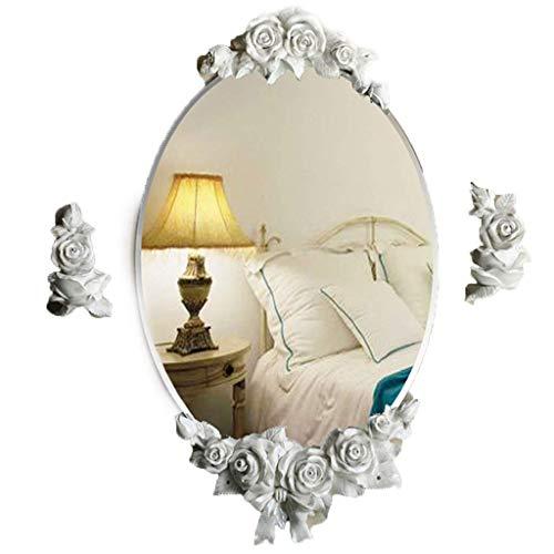 FGVBC Espejo de Pared para baño, Hermoso Espejo para Colgar en la Pared con decoración de Flores, fácil de Limpiar para niñas (Color: Rosa)