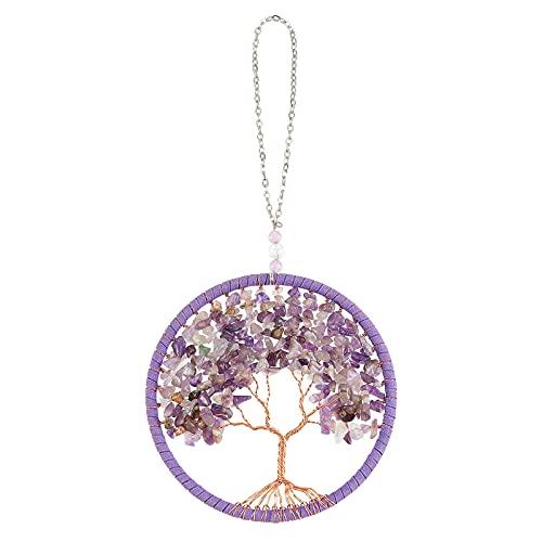 NBEADS 1 colgante de árbol de la vida, con piedras preciosas naturales de viruta, collar de piedras preciosas moradas con cadenas de cable de hierro para el hogar, ventana, coche, decoración
