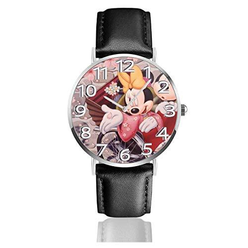 Romantico e Minnie Cherry Blossom Unisex Easy Reader Orologio analogico al quarzo con cinturino in Pelle da 38 mm
