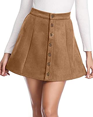 fuinloth Women's Faux Suede Skirt Button Closure A-Line High Wasit Mini Short Skirt 2020 Ginger Small (US 4-6)