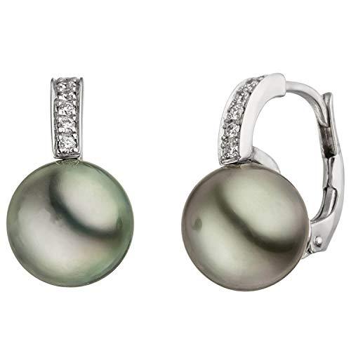 Pendientes con perlas de Tahiti de 8-9 mm y 12 brillantes de oro blanco 585.