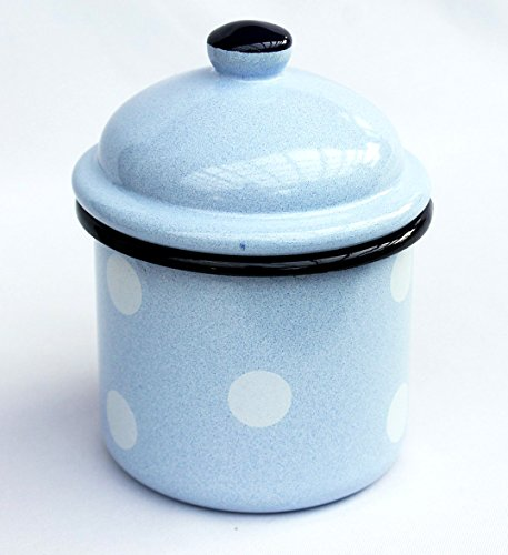 Aufbewahrungsdose 501Z Dose 15cm emailliert Vintage Landhaus Mehlbüchse Emaille Teedose Kaffeeedose (Hellblau mit weißen Punkten)