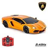 CMJ RC Cars - Lamborghini Aventador avec télécommande pour enfants avec lumières, radio pilotée sur route RC, 1-24, 27 Mhz Orange