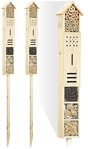 Royal Gardineer Insekten-Haus: 2er-Set Insektenhotels Flip mit Erdspieß, 160 cm (Insekten-Nisthilfe)