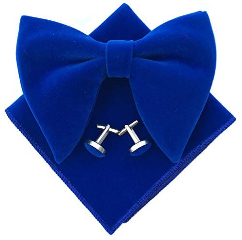 Mens Pre-Tied Oversized Bow Tie Tuxedo Velvet Bowtie Cufflinks Hankie Combo Sets (Royal Blue)