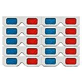 Huante Gafas 3D,10 Pares Lentes Estéreo Papel Rojo y Azul para Películas Set Anaglifo de Papel Gafas 3D
