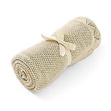 Manta Premium para Bebé Niño o Niña Recién Nacido de Punto de Algodón Orgánico Gots para Invierno 80x100 cm Mantita Extra Suave Tejida Grosor Medio con Borde Calado (Caramel Jaspeado)