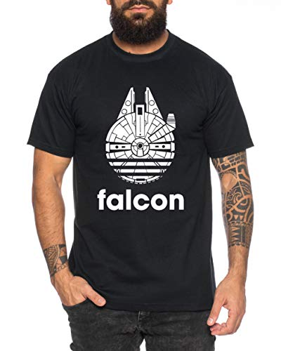 Adi Falcon - Herren T-Shirt Fast Falcon Wars T-Shirt Star Imperium Boba Fiction Darth, Farbe:Schwarz, Größe:XL