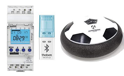 Theben Set TR 610 top3, Bluetooth Empfänger OBELISK und Avantrado Hoverball - Set 3-teilig, digitale 1-Kanal Zeitschaltuhr mit App-Programmierung, perfekt für LEDs, Zeitschalter