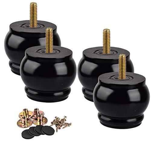Patas de madera de 7 cm La Vane 4 piezas de madera de tierra negra redonda M8 de repuesto con perno de 5/16 pulgadas preperforado, placa de montaje y tornillos para sofá, aparador, armario