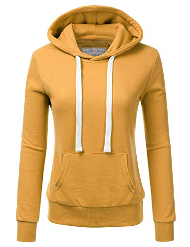 Doublju Basic Lightweight Pullover Hoodie Sweatshirt for Women Mustard Medium