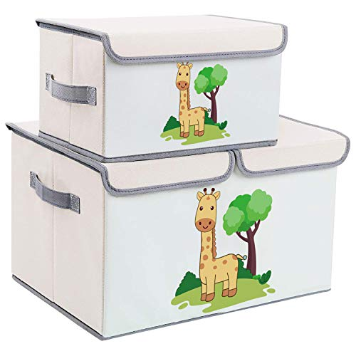 DIMJ 2 Pack Toy Boxes with Lid, Large Kids Storage Box with Lid, Cartoon Fabric Toy Organiser, Foldable Storage Bins with Handles for Kids, Clothes, Toys, Books, Shelves, Nursery, Home (Beige 2)