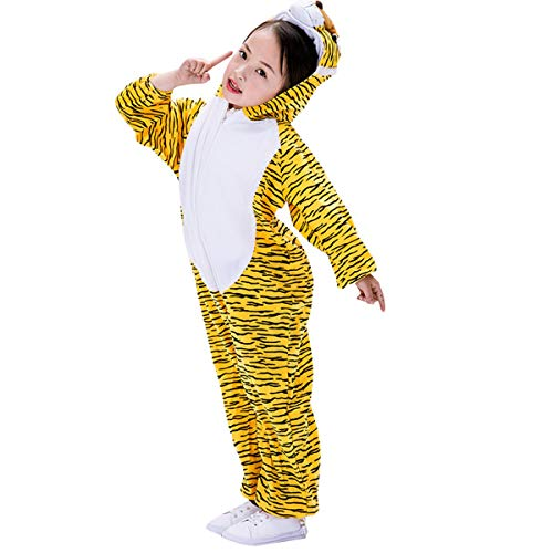 Amosfun Kinder Tiger Onesie Tier Pyjamas Kostüm Cosplay Tiger Overall für Kinder Kleinkinder Party Kostüm (Größe XL)