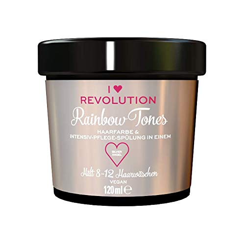 I Heart Revolution Rainbow Tones Silver Angel - semi permanente Haarfarbe und Pflegespülung in einem, auswaschbar mit 8-12 Haarwäschen - vegan, mehrfach verwendbar, 120 ml