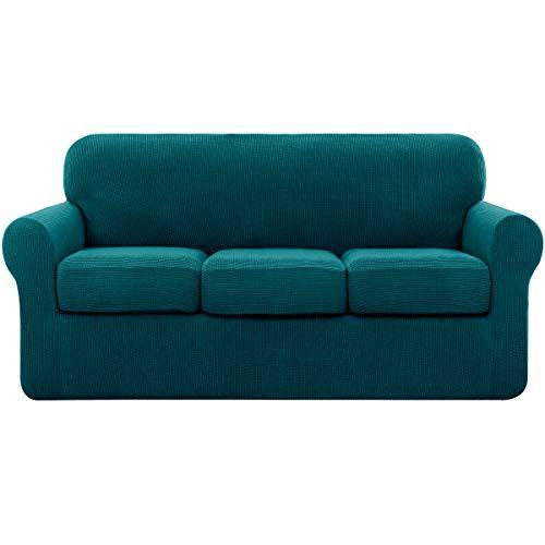 subrtex Sofabezug mit 3 Separatem Sitzkissenbezug Stretch Sofahusse Couchbezug Elastischer Stretchhusse für Sofa (3 Sitzer, Petrol Blau)