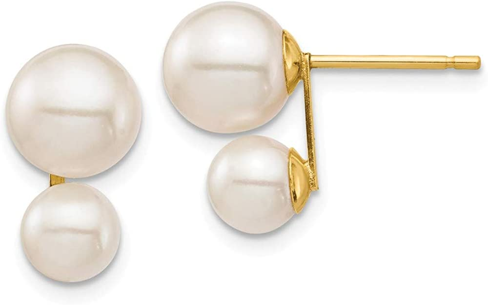 14k Yellow Gold 5 7mm White Round Freshwater Cultured Double Pearl Post Stud Earrings Ball Button Fine Jewelry For Women Gifts For Her
