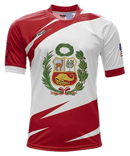 Arza Sports Peru and USA Men Fan Jersey Color Red/White (Large)
