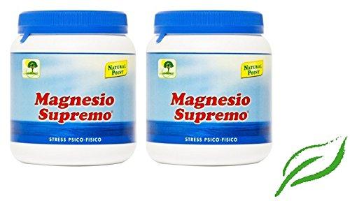 NATURAL POINT - MAGNESIO SUPREMO 2 CONFEZIONI DA 300 GR antistress naturale, stanchezza cronica, mal...