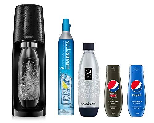 Sodastream Pack Spécial Machine Spirit Noire Plastique, Une Bouteille 1L, Une Bouteille FUSE PEPSI...