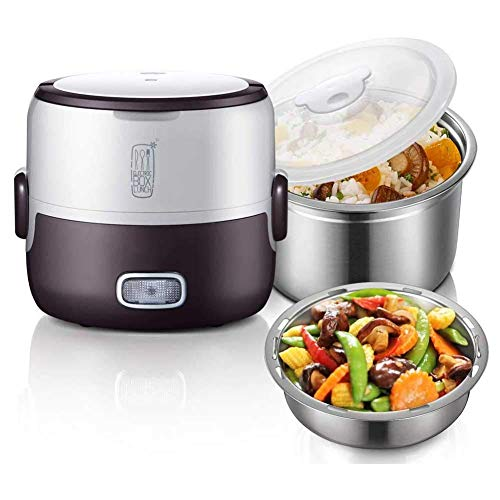 MZXUN Portable Electric Lunch Box Bento Box, 1.3L Double-Layer Rice Cooker Steamer Rice Food Container Insulated Lunch Box