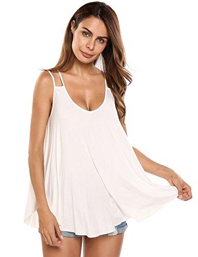 trudge Damen Sommer Spaghetti Tops Strandkleid Trägerkleid Frauen Shirt Bluse Oberteile Cool Locker Lässiges Sexy Ärmelloses (XXL, Weiß)