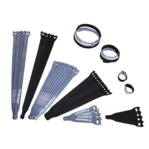 Wiederverwendbare Kabelbinder mit Klett, Trilancer Klettkabelbinder Kabelklett Seilklett mit Klettverschluss, Schnurbinder Gurt Klettbänder für Kabel und Kabelmanagement (3 Größen, 40s-set)
