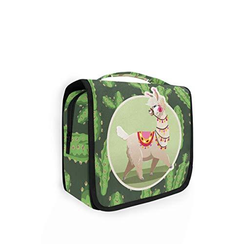Bolsa de aseo iRoad para colgar de viaje, diseño de llamas, cactus, bolsa de cosméticos, bolsa de maquillaje de gran capacidad, plegable, portátil, para mujeres y hombres