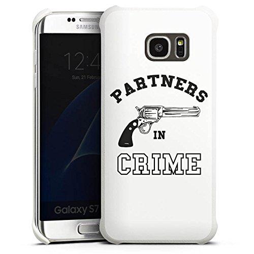 DeinDesign Samsung Galaxy S7 Edge Lederhülle Leder Case Leder Handyhülle Pistole Crime Freundschaft