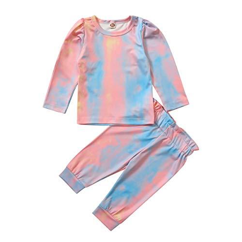 FYMNSI - Conjunto de ropa para bebé recién nacida con estampado de lazo y manga larga de algodón con volantes + pantalones, 2 piezas de ropa casual para 0 – 4 años