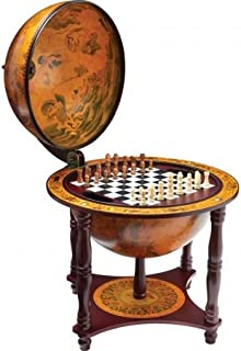 BNFUSA HHGLBCH Kassel 13 in. Diameter Globe with 57 Pieces Chess and Checkers Set by BNF