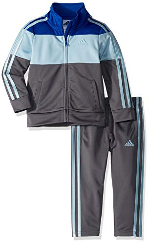 adidas Boys' Little Tricot Jacket and Pant Set, Block ADI Dark Royal, 7X