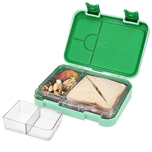 Navaris Fiambrera hermética para Comida - Lunch Box sin BPA con divisores - Bento Box para merienda Almuerzo Desayuno de niños y Adultos - Verde