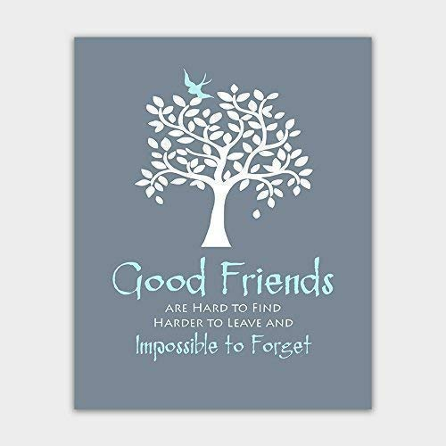 Gift for Best Friend - Art Print - Birthday Gift - Moving Away Gift - Wall Decor - Custom Colors Available - Thank You for Being a Friend