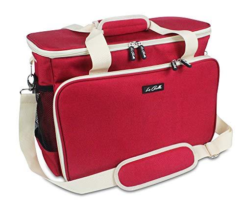 La Canilla ® - Bolsa para Máquina de Coser Funda Máquina de Coser Alfa Maleta de Transporte para Máquinas de Coser Singer y otros Accesorios Máquina Coser (Accesorios No Incluidos) (Rojo)