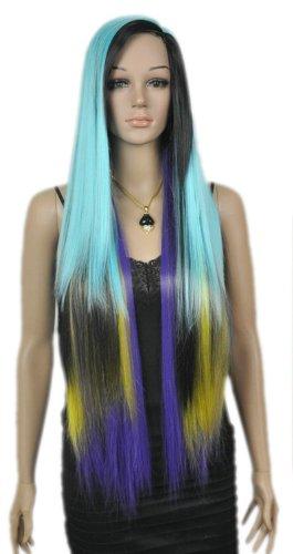 Qiyun Longue Femme Multicolore Rainbow Bleu Violet Jaune Noir Mixte Complete Cosplay Anime Costume Perruque